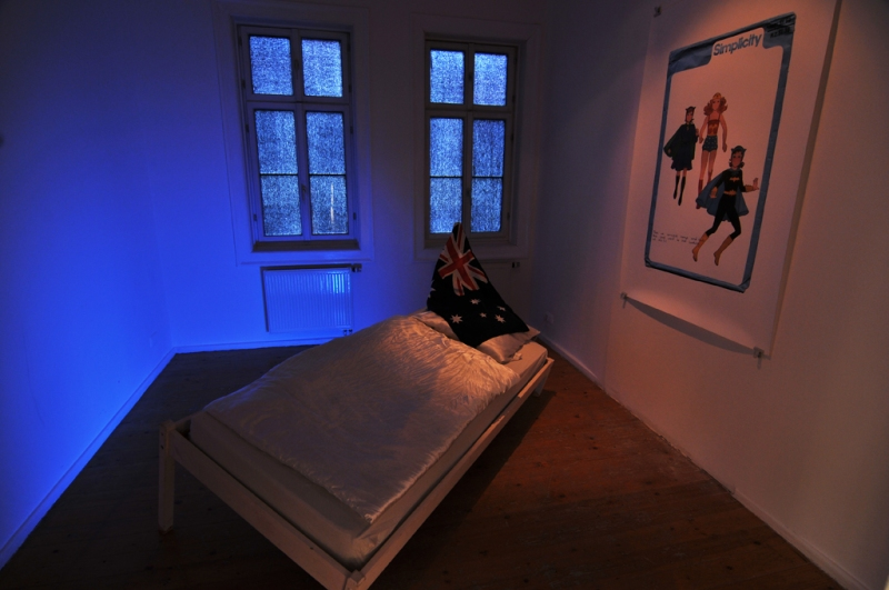 Natascha Stellmach, Installation view: The Book of Back, mixed media, video, photograph, ACC Galerie Weimar,  2009