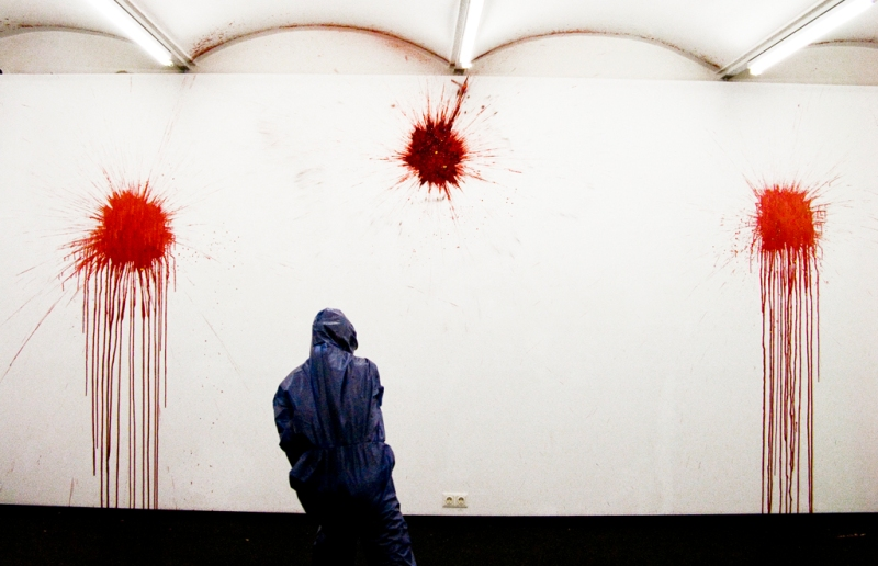Natascha preparing one wall for the Blood series, Fotogalerie Wien, 2010