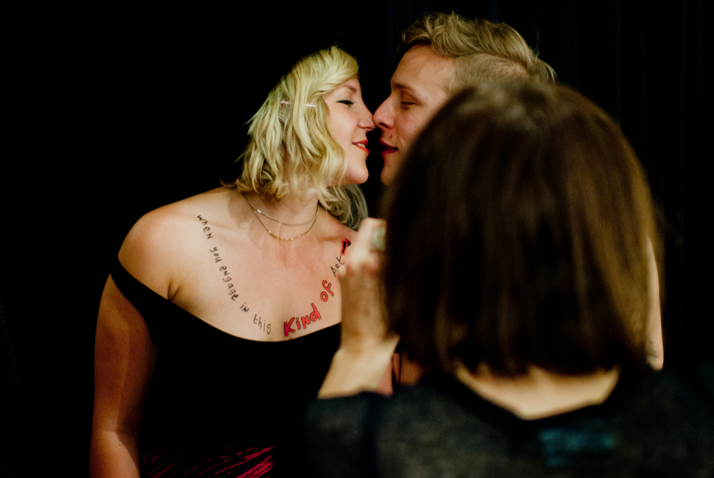 Natascha photographs Annica & Simon during her Agent Provocateur happening at Anna Pappas Gallery, Melbourne 2012, photo by Tristan Davies