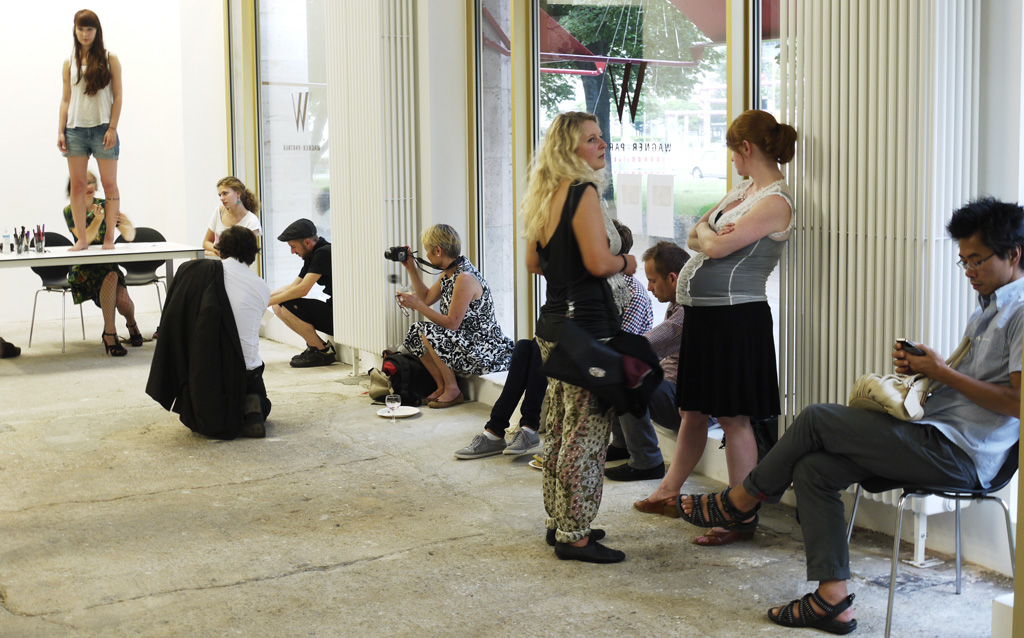Queueing up for a Stellmach pen tattoo during the Agent Provocateur happening at Wagner+Partner, 2012