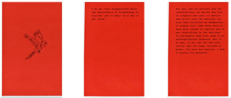 First 3 pages from artist book, Fly with its 1450 short story written and typed by Stellmach onto red pages and set in between black paper and Erica Jong's 70's novel
