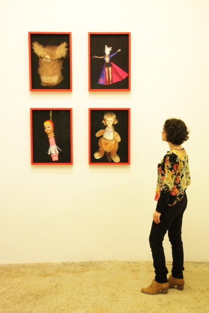 Natascha Stellmach, Installation view, Worry Dolls (Killer, The Bullshit Artist, Fuckhead, Nazi Girl), 2007-12, archival ink on photo rag, 60 x 44cm, Ed. 5+2AP, at Wagner+Partner Berlin, 2012