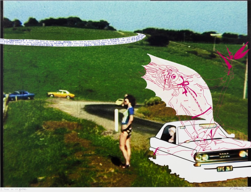 Natascha Stellmach, I have an air guitar, 2013, ink and pen on photo paper 69 x 86 cm, unique piece, courtesy Wagner+Partner Berlin
