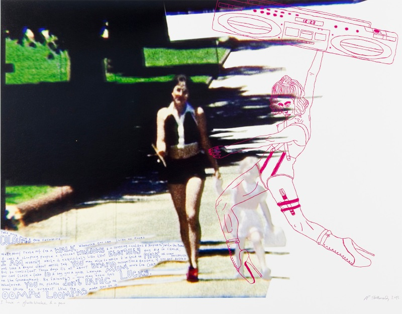 Natascha Stellmach, I have a ghettoblaster and a pen, 2013, ink and pen on photo paper, 69 x 86 cm, unique, courtesy Wagner+Partner Berlin