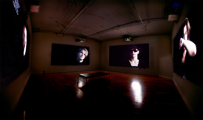 Installation view from Complete Burning Away: Who will smoke the ashes of Kurt Cobain?. 4-channel video, sound, 10:03 min, PICA, Australia, 2010, photo by Bewley Shaylor