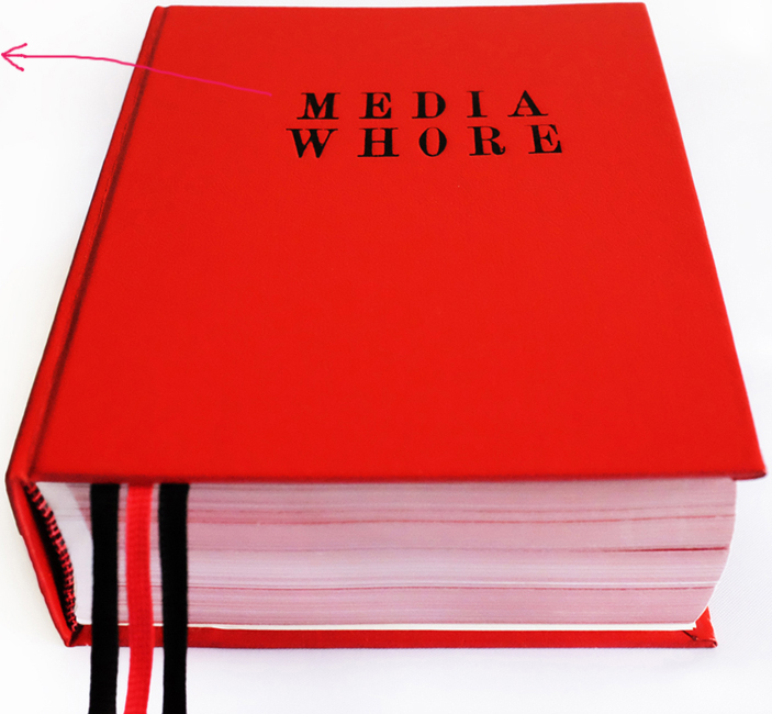 Media Whore, 2010, hand-bound artist book, 440 pages, digital printing on paper, ribbon, faux leather, 16 x 13 x 6 cm