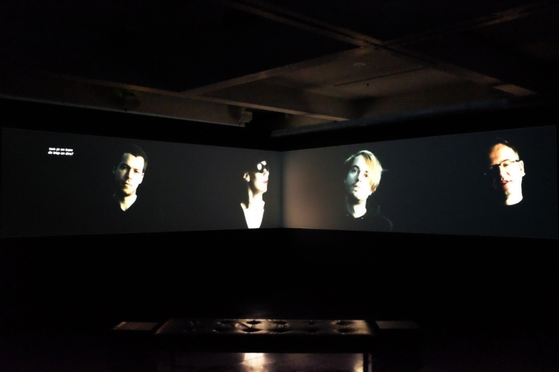 Installation view: Who will smoke the ashes of Kurt Cobain?, 2-channel video projection, 10:06 min, 2010, dimensions variable, Latrobe University Visual Arts Centre, Bendigo, Australia, 2013