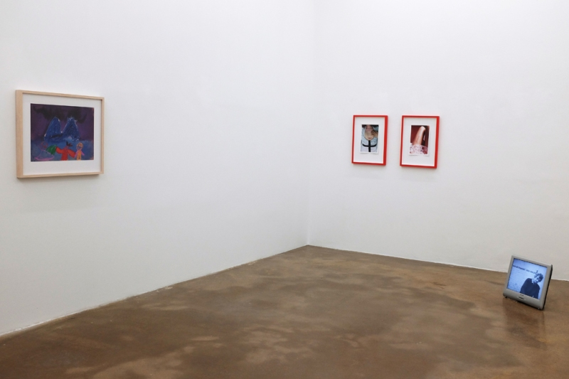 Natascha Stellmach, Installation view with Mike Kelly (We Communicate Only through Our Shared Dismissal of the Pre-Linguistic) & Marcel Broodthaers (La Pluie – projet pour un texte) at Wagner+Partner Berlin, 2013