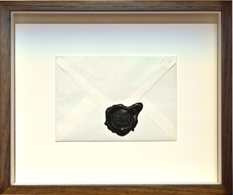 Natascha Stellmach, 2010, Artist Statement, wax seal in artist's handwriting on paper envelope with unique message sealed inside, 35 x 29 x 5.5 cm (framed), multiple 1/12 + 2AP