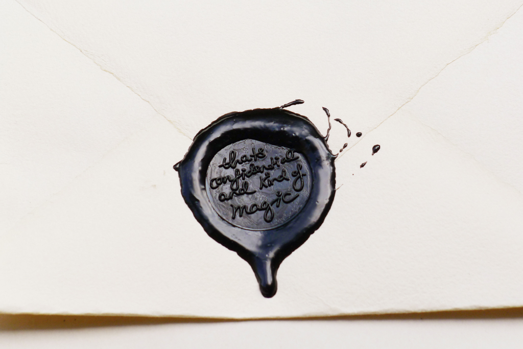 Natascha Stellmach, Artist Statement (detail), 2010, wax seal in artist's handwriting on paper envelope with unique message sealed inside, 35 x 29 x 5.5 cm (framed), multiple 2/12