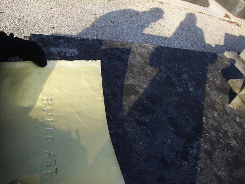 At André Breton's grave, making Breed Art, Batignolles cemetery, Paris, 2010