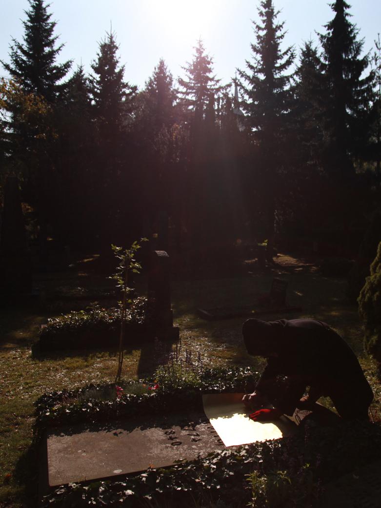 BORIS + NATASCHA at Casper David Friedrich's grave, making Sacred Rider, Trinitatis cemetery, Dresden, 2011