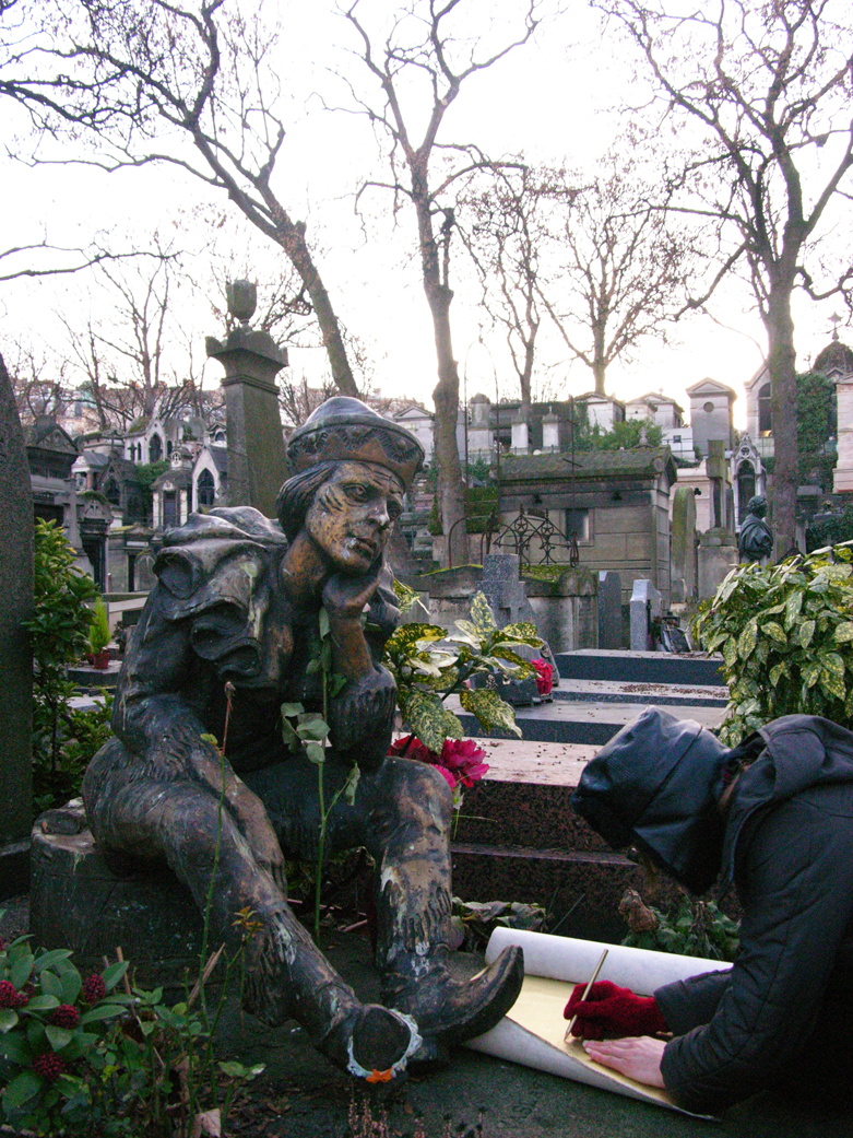 BORIS + NATASCHA at Vaslav Nijinsky's grave, making Kiss In Vain, Montmartre cemetery, Paris, 2010