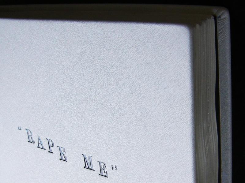 "Natascha Stellmach, ""Rape Me"" (detail), 2010, calf-leather hand-bound artist book: pen, pencil, texta, crayon on 300 pages (drawn on the published diaries of Kurt Cobain), 28 x 22 x 6cm, unique piece"