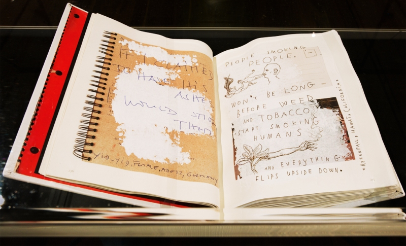 """Natascha Stellmach, """"Rape Me"""", 2010, calf-leather hand-bound artist book: pen, pencil, texta, crayon on 300 pages (drawn on the published diaries of Kurt Cobain), 28 x 22 x 6cm, unique piece"""