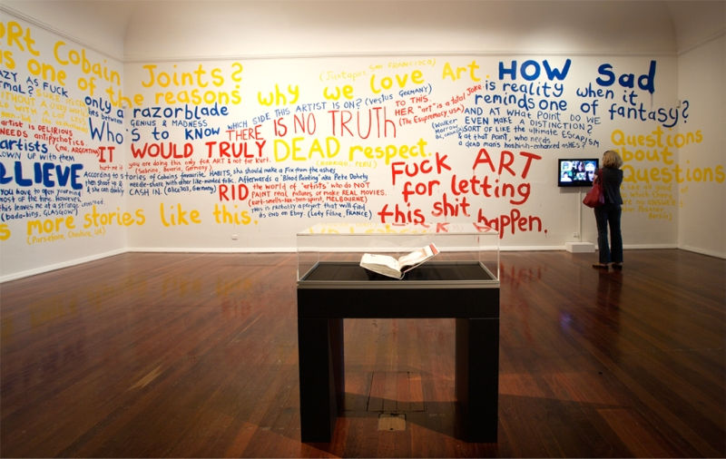 "Installation view: Whatever Happened to Painting?, (wall text), ""Rape Me"" (artist book), Overture (1-channel video), PICA, Australia, 2010, photo by Bewley Shaylor"