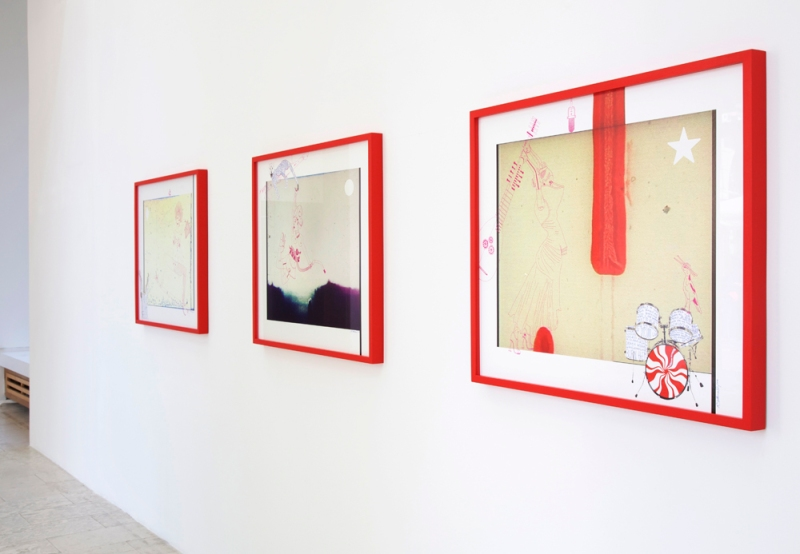 Installation view: Crystal, Candy & CJ, framed unique works, Wagner+Partner Berlin, 2014