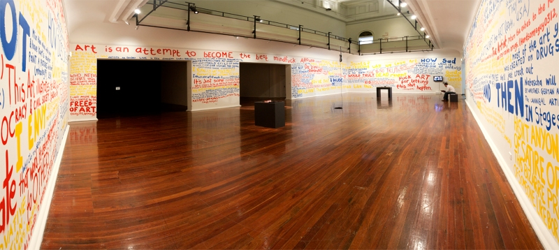 "Installation view: Whatever Happened to Painting?, (wall text), Media Whore (artist book), Commodity (object), ""Rape Me"" (artist book), PICA, Australia, 2010, photo by Bewley Shaylor"