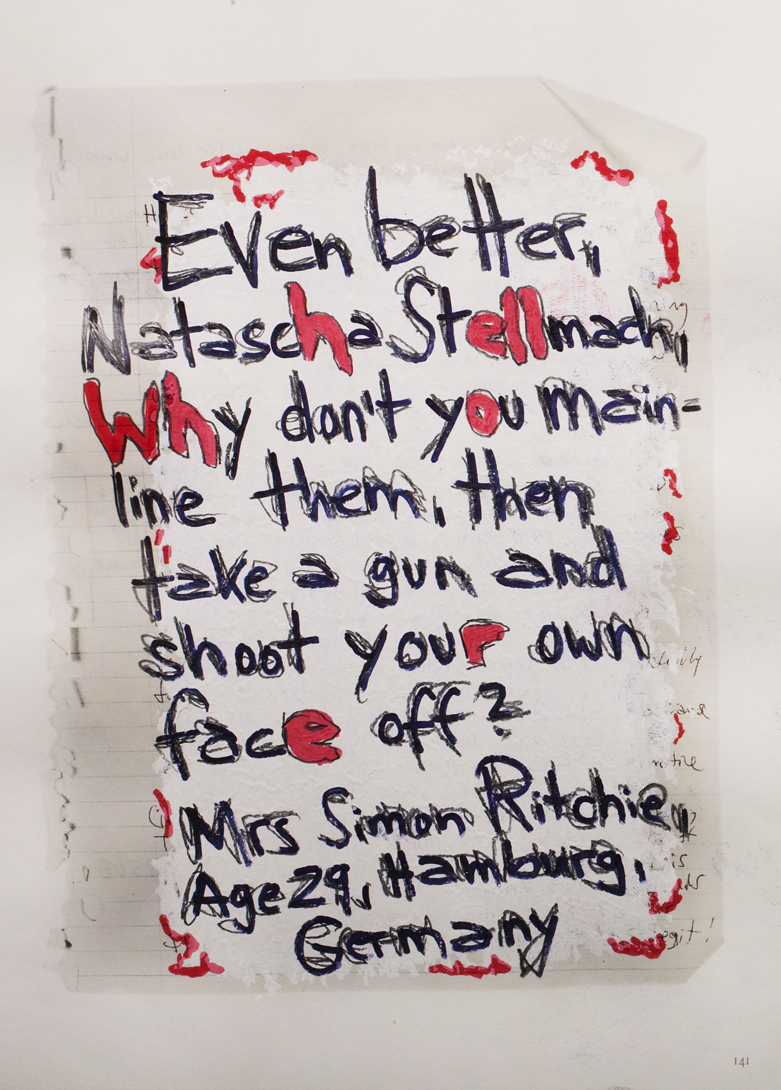 """Natascha Stellmach, """"Rape Me"""" page (one of 300 pages)"""