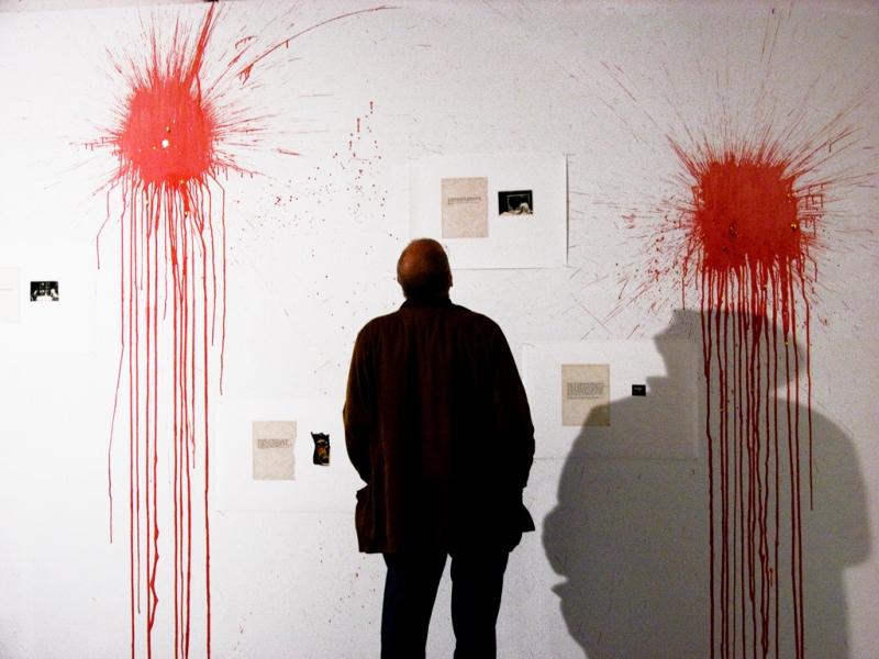 Natascha Stellmach, Installation view, Blood series as part of Identität–Biografie (photographs and mixed media) at Fotogalerie Wien, Vienna, 2010