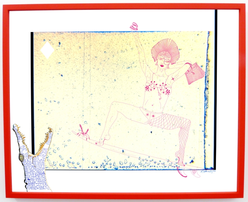 Natascha Stellmach, Crystal, 2014, ink and pen on photo paper, 69 x 86 cm, unique, red frame