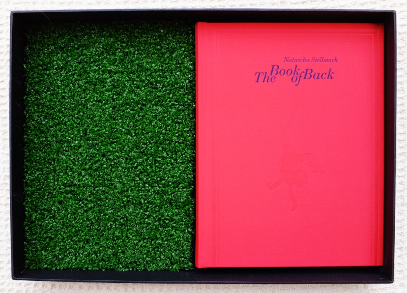 Natascha Stellmach The Book of Back, offset printing on paper, thread, photograph, DVD, linen, faux grass, box, gloves, tote bag, limited ed. 123