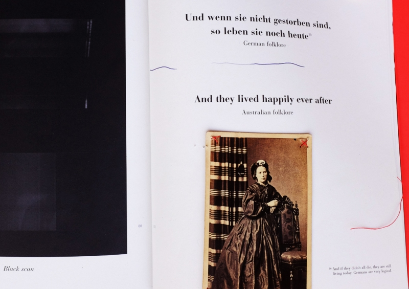Natascha Stellmach, The Book of Back, 2007, offset printing on paper, thread, photograph, DVD, linen, p. 80–1, limited ed. 50/123